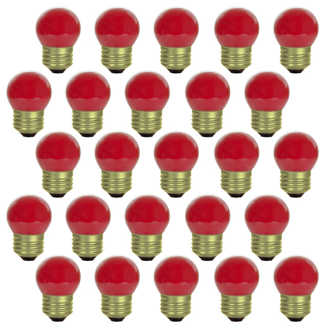 Sunlite Red S11 Round Decorative Bulb, Medium Base, 25 Pack.
