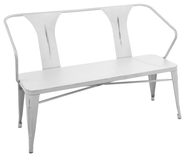 Lumisource Waco Bench, Vintage White Metal