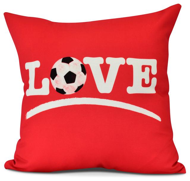 E by design Love Soccer Light Decorative Word Throw Outdoor Pillow 18 Blue