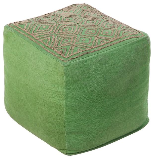 Surya Poufs Pouf/ottoman, Green, Square 18.