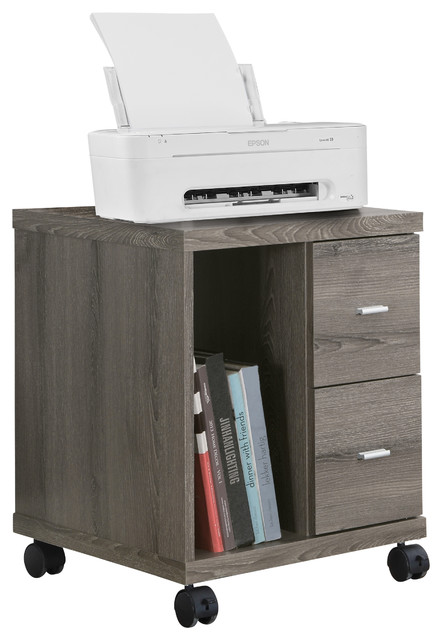 Monarch Specialties Office Cabinet, Dark Taupe With 2 Drawers on Castors - Filing Cabinets | Houzz