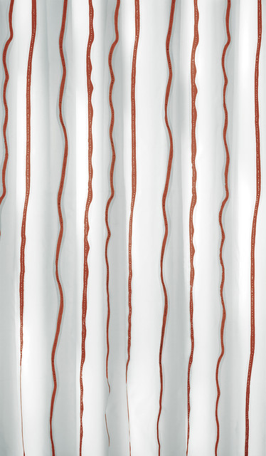 Ruby Red Luxury Striped Fabric Shower Curtain Naomi