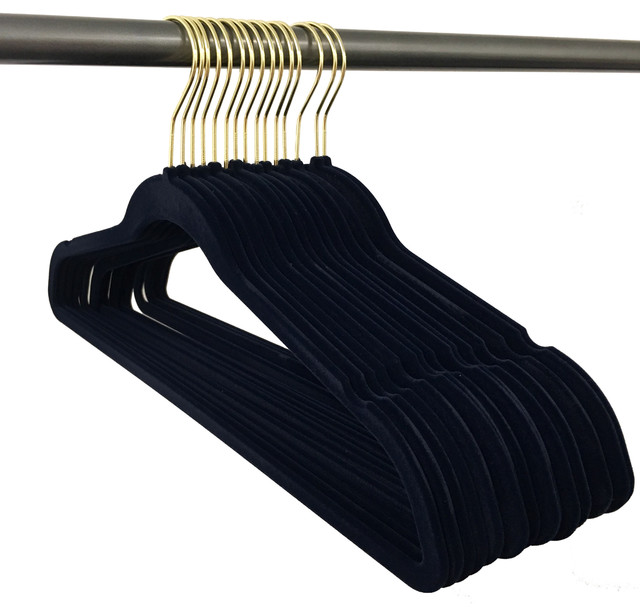 Closet Complete Gold Hook Velvet Hangers, 150 Pack, Black.
