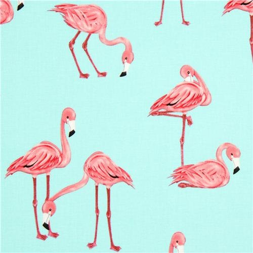 turquoise blue flamingo fabric by Michael Miller