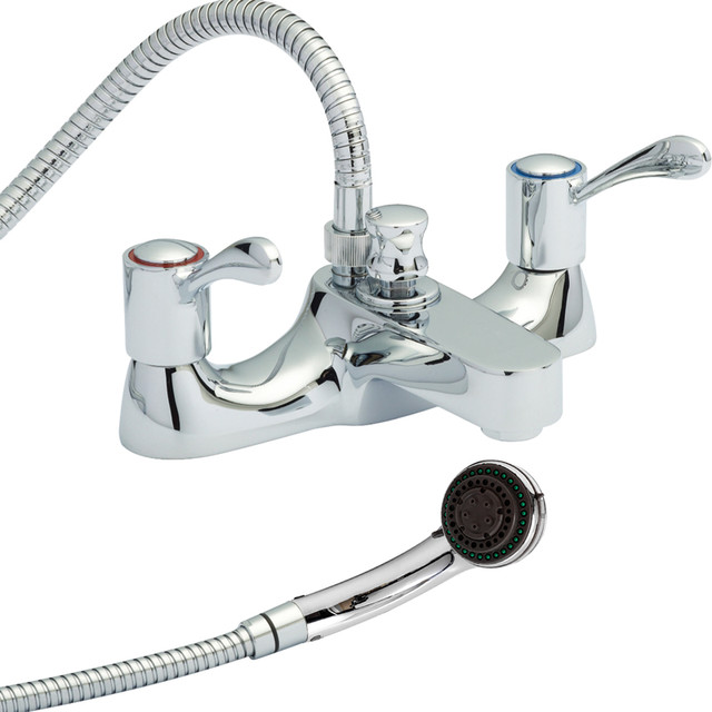 Modern Chrome Deck Mounted Bath Filler Tub Mixer Faucet With Handheld Shower Kit