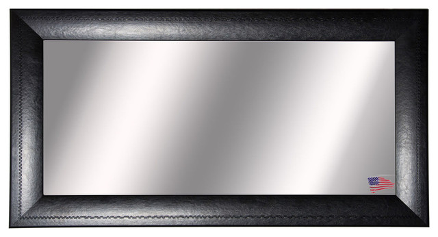 Washington Double Vanity Mirror, Stitched Black Leather, 39.25x72.25.