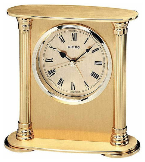 Seiko Brass Desk Or Table Clock With Alarm Traditional Desk And Mantel