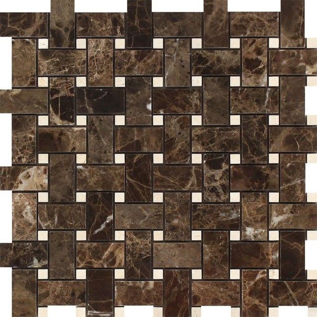 Emperador Dark Polished Marble Basketweave Mosaic Tile C Marfil Dots Sample