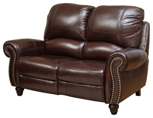 Swell Abbyson Living Cambridge Leather Pushback Loveseat Dark Machost Co Dining Chair Design Ideas Machostcouk