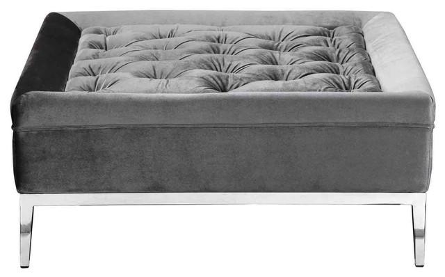 Vivienne Ottoman, Velvet Silver contemporary-footstools-and-ottomans - Vivienne Ottoman, Velvet Silver - Contemporary - Footstools And