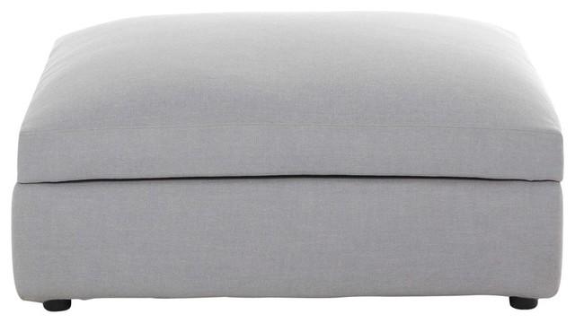 Pouf per divano grigio chiaro modulabile in tessuto Edgard - Moderno ...