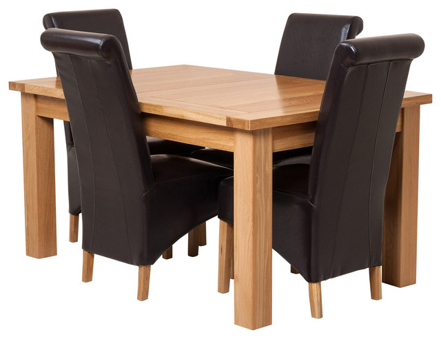 Seattle Oak Extending Dining Table, 4 Montana Chairs, Brown Leather