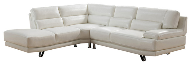 Vivian Leather Craft Sectional, Ivory White.