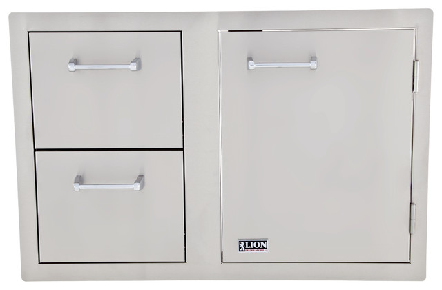 Lion Premium Grills Access Door And Double Drawers.