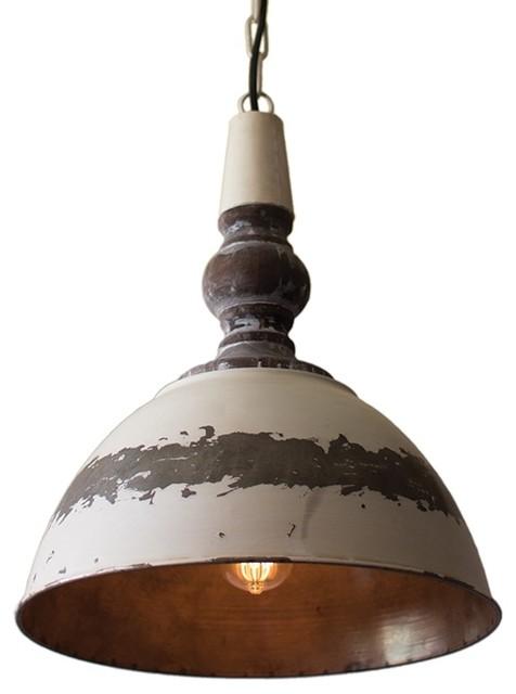 Metal Pendant Light, Antique Buttermilk, Rustic
