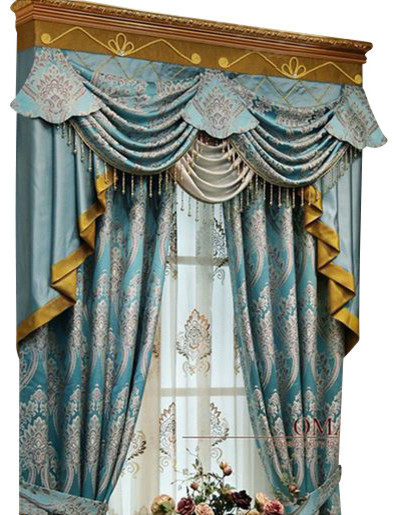 luxury window curtain blue king 54x84 with valance