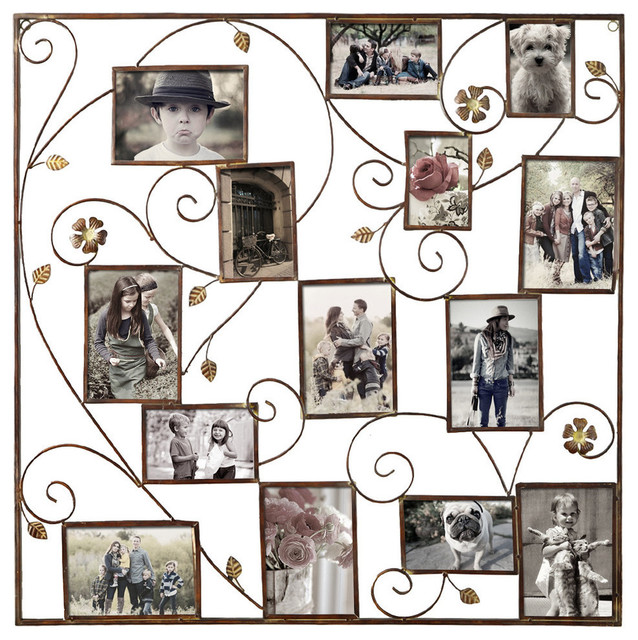Furnistar Decorative Iron Wall Hanging Collage Photo Frame, Bronze ...