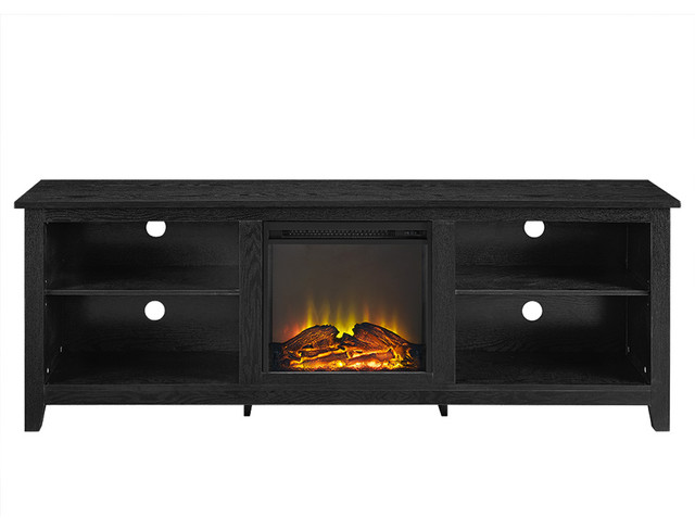 70 Black Wood Fireplace Tv Stand Transitional Entertainment Centers And Tv Stands By