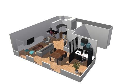 créer un bureau dans sejour/salon/cuisine ouverte - Plan De Cuisine Ouverte Sur Salle A Manger