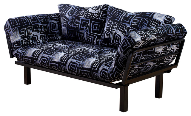 High Quality Spacely Frame Futon With Black Metal Finish, Cosmo Tech Contemporary Futons
