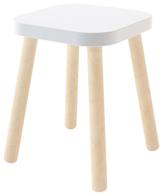 Surprising Square Stool Birch And White Squirreltailoven Fun Painted Chair Ideas Images Squirreltailovenorg