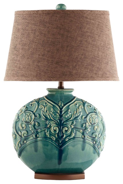 Rochel 1-Light Table Lamp, Turquoise.