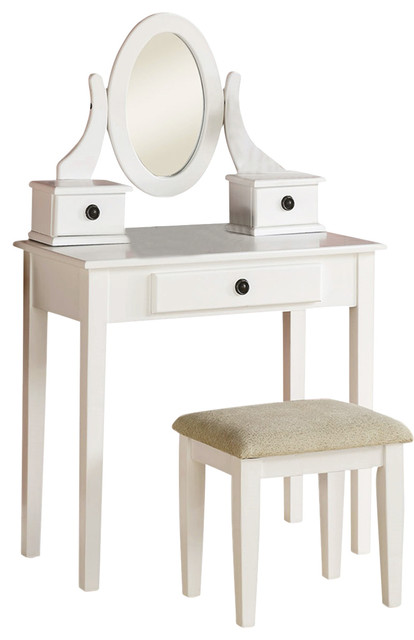 3-Piece Mirrored Vanity Desk Stool With Fabric Cushioned Seat Set, White