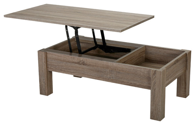GDFStudio - Enida Wood Lift Top Storage Coffee Table, Dark Brown - Coffee  Tables