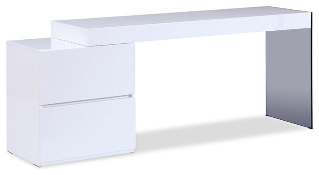 Mia Modern Office Desk In White High, White Modern Office Desk