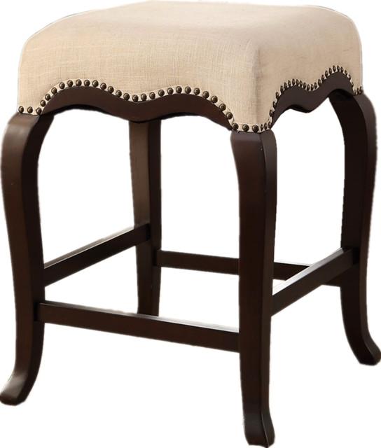 Counter Height Stool Nailhead Trim Cream Fabric Cushion