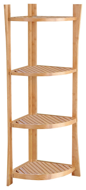 Bamboo 4-Tier Corner Shelf - Asian - Bathroom Cabinets And Shelves - by Best Living Inc.