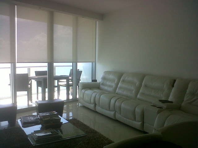 Window Treatment Contemporary Living Room Miami By