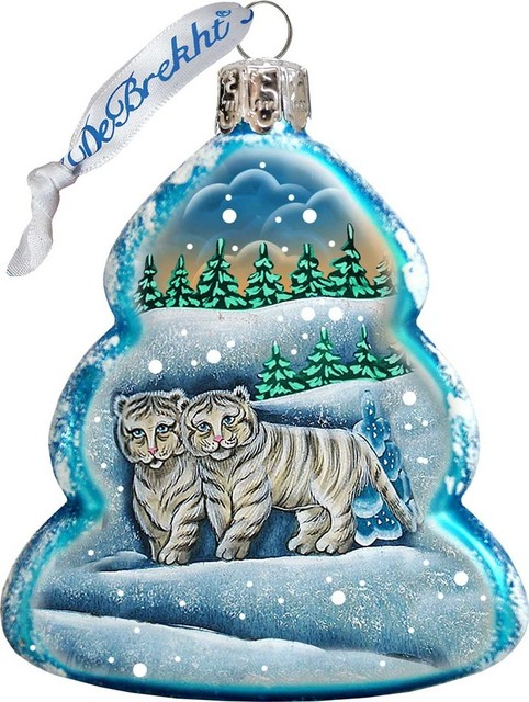 Cubs Christmas Ornaments.Keepsake Santa S White Tiger Cubs Scenic Glass Ornament