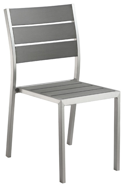 Maxwell Aluminum Outdoor Stackable Dining Chair, Slate Gray, Set Of 2  Contemporary Outdoor