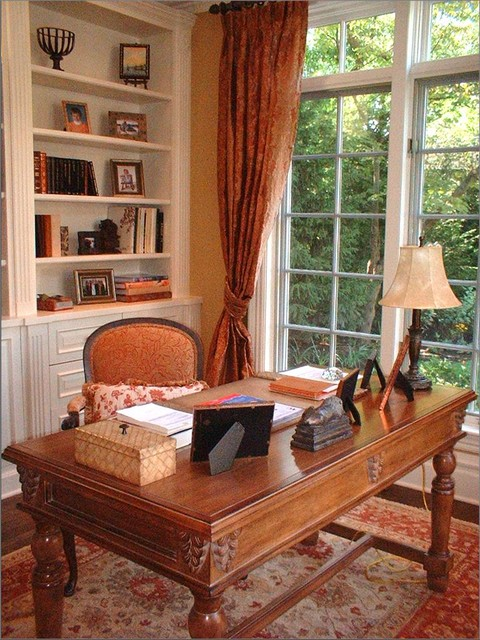 Chicago Suburban French Chateau Style Traditional Home Office
