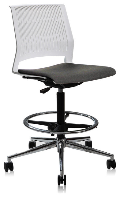 White Adjustable High Drafting Office Chair.