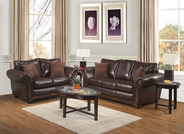 Delicieux Traditional Brown Leather Sofa Couch Loveseat Pillow Living Room Set