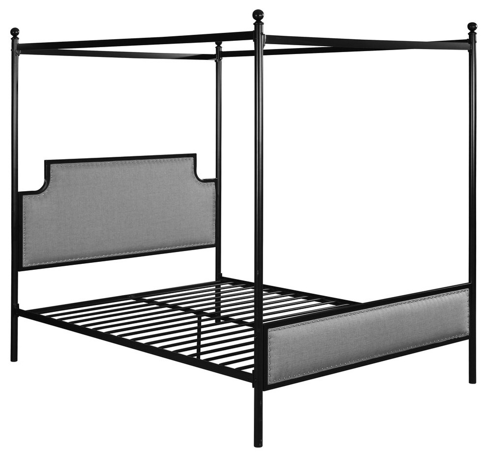 - Asa Queen Size Iron Canopy Bed With Upholstered Studded Headboard