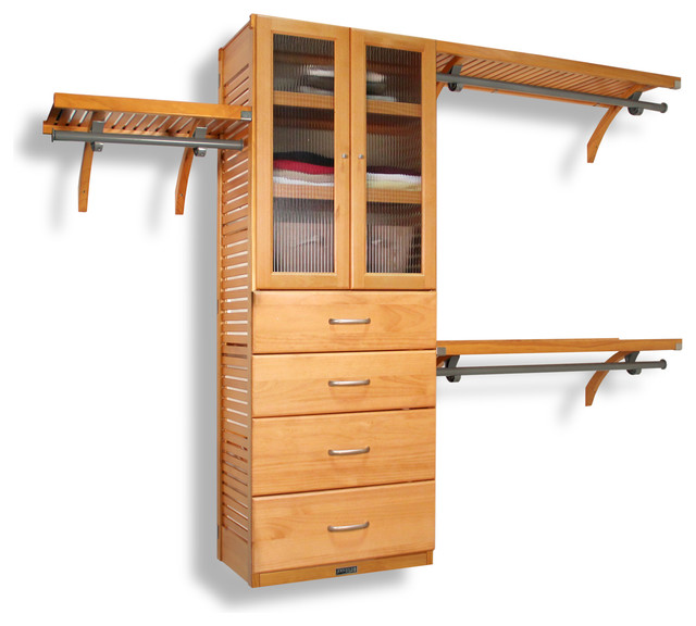 Amazing Closet Organizer, Honey Maple Transitional Closet Organizers