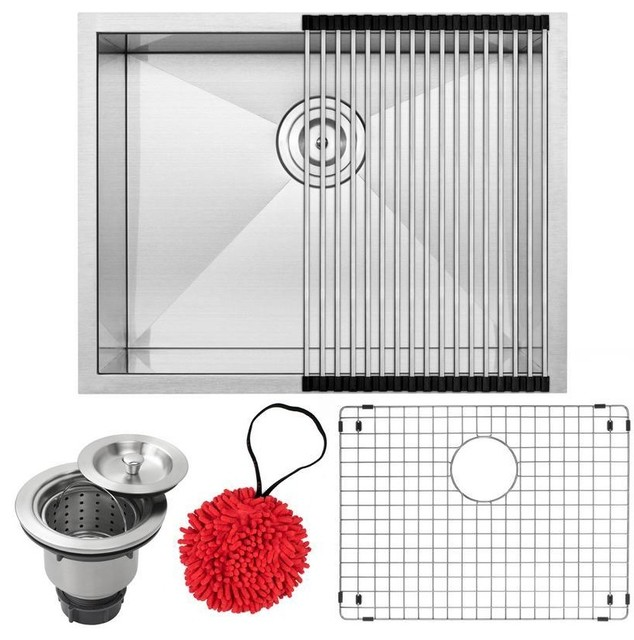 "22.5"" Zero Radius Undermount 16-Gauge Stainless Steel Single Basin Kitchen Sink"
