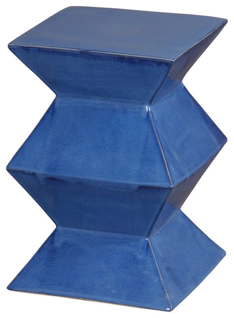 Emissary Zigzag Blue Garden Stool Contemporary Accent And Garden Stools