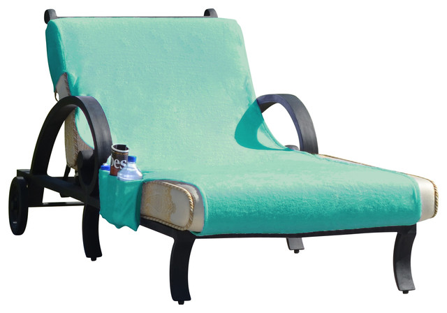 Standard size monogram aqua chaise lounge cover with side for Aqua chaise lounge