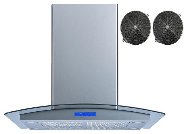 """Winflo 30"""" 450 Cfm Convertible Island Range Hood With Carbon Filters."""