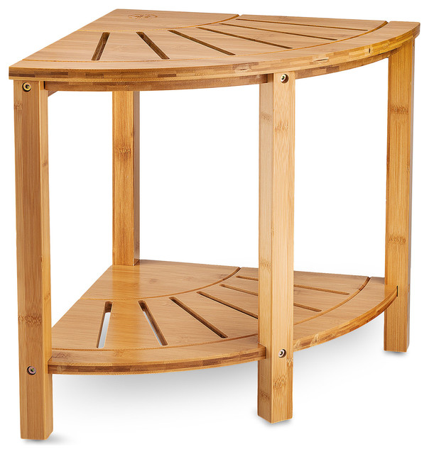 Bamboo Corner Shower Bench With Shelves For Home Decor Indoor And Outdoor