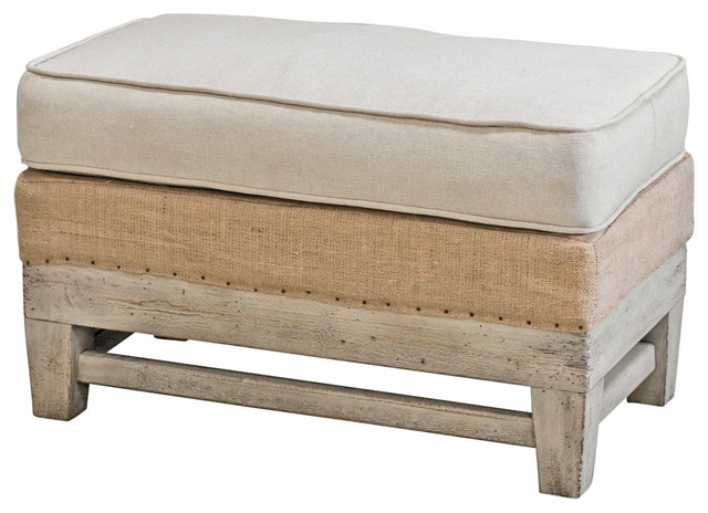 Distressed Wood Storage Ottoman ~ Trey coastal beach linen burlap distressed rustic ottoman