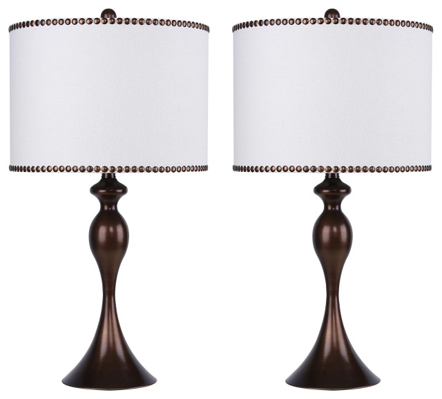 Table Lamp Set With Off White Linen