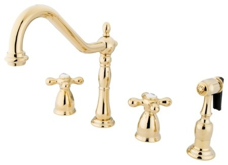 "Heritage 8"" Center Kitchen Faucet With Brass Sprayer, Polished Brass."