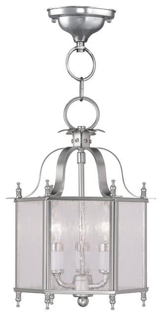 Legacy 3-Light Pendants, Brushed Nickel.
