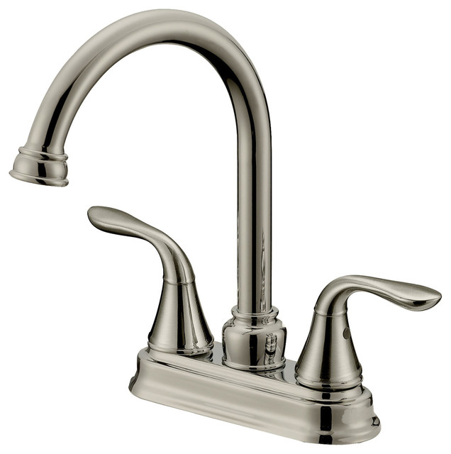 Long Neck Bar/Bathroom Faucet LB6B, Brushed Nickel Finish, 4 In Spread  Traditional