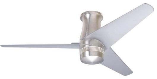 "Velo Dc Flush Mount Ceiling Fan, Bright Nickel, 48""."